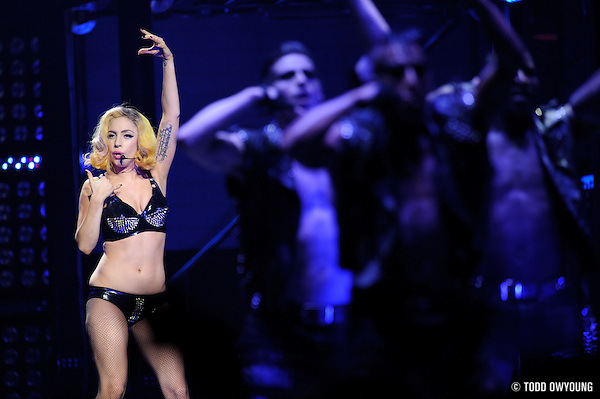 Lady Gaga performing at the Scottrade Center in St. Louis on July 17, 2010 (TODD OWYOUNG)