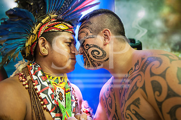 Maori delegate Earl greets a Pataxo delegate in the traditional Maori way at the International Indigenous Games in Brazil. 27th October 2015 (Sue Cunningham/SCP)