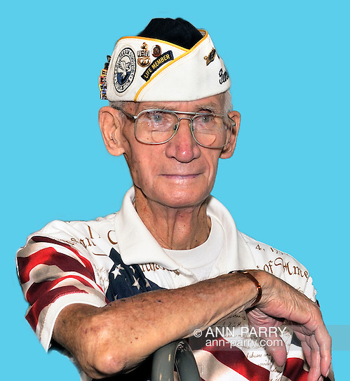 William Halleran, Pearl Harbor survivor, and member of Merrick Post 1282 of American Legion, on August 13, 2011. photo © 2011 Ann Parry, NOTE: Halleran placed on blue backdrop digitally. (Ann E Parry/Ann Parry, Ann-Parry.com)