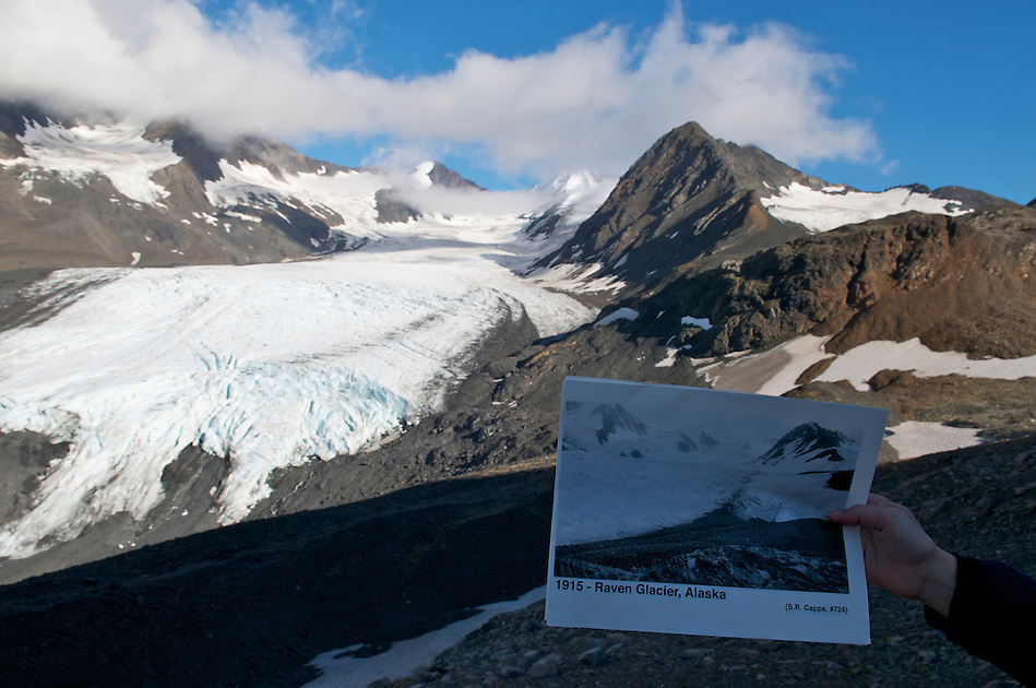 September 11, 2010 repeat photography by Ron Karpilo of a 1915 image taken by USGS geologist Stephen Capps of Raven Glacier at Crow Pass in Chugach National Forest and Chugach State Park, Alaska, United States. (Ron Karpilo)
