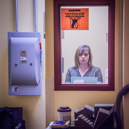 "Radiology Theropist and x-ray tech Jackie Gerik at the Rhyneer Clinic in Anchorage  gulliblej@hotmail.com  ""I really like Anchorage but my husband just purchased a practice in Fairbanks and we will be moving there.  I'm sad."" (© Clark James Mishler)"