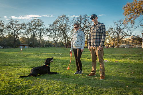 """Nihy loves the Frisbee but we usally play ball because the Frisbee makes her crazy.""  -Elizabeth Tangney and Jeremiah  play Chuck-it with their dog, Nihya, at the Napa County Fair Grounds in Calistoga. (Clark James Mishler)"