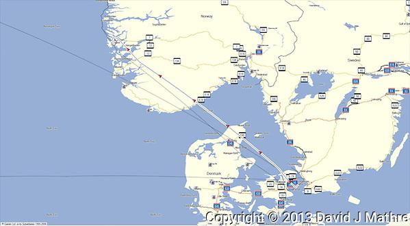 GPS Track: Copenhagen to Bergen (462 miles) (David J Mathre)