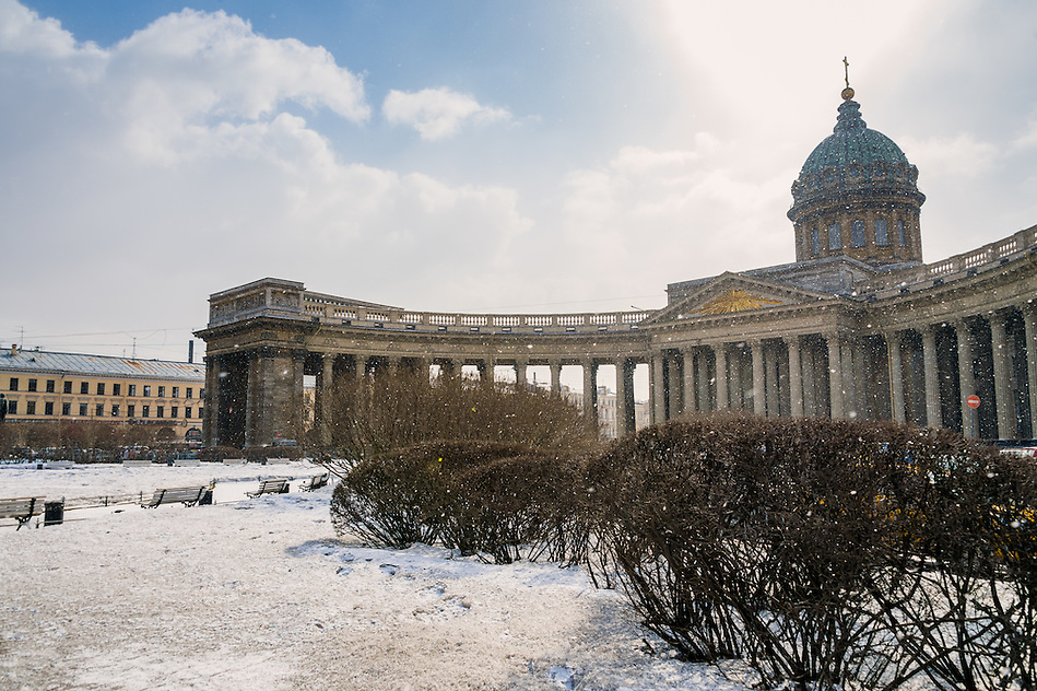 View of the Kazan Cathedral in St. Petersburg in Russia during winter time. (Daniel Korzeniewski)