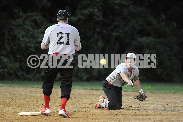 Ohev Shalom's Seth Wolf (21) awaits a throw from Dr. Ross Levine to force out a Shir Ami runner during a Delaware Valley Synagogue League modified fast pitch softball playoff game Monday August 1, 2016 in Southampton, Pennsylvania. (Photo by William Thomas Cain) (William Thomas Cain)
