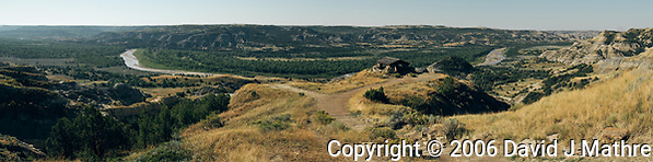 Little Missouri River Overlook. Composite of 3 images taken with a Nikon D200 camera and 18-75 mm kit lens (ISO 100, 18 mm, f/5, 1/500 sec). Raw images processed with Topaz JPG to Raw; Capture One Pro, and AutoPano Giga Pro. (David J Mathre)