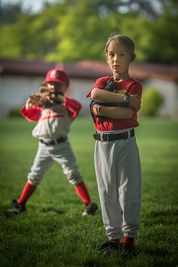Six year old Keaton Bramham (right)  and J.P Birdwell (left) of the Saint Helena Volcanoes play the Calistoga Cheetahs at Calistoga Elementary School. (Clark James Mishler)