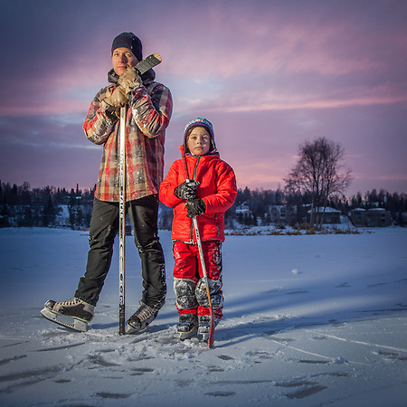 Jessica Oswald and her six year old son, Elias, at Westchester Lagoon, Anchorage  jesskop07@gmail.com (Clark James Mishler)