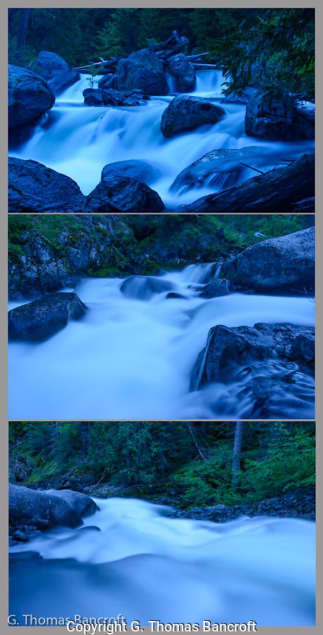Twilight settled along Ingalls Creek in  the Alpine Wilderness Area.  The water rushed from top to bottom across these three photographs, dropping almost 30 feet over a short distance. (G. Thomas Bancroft)
