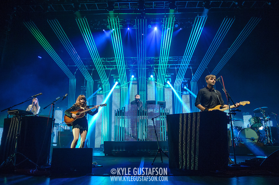 COLUMBIA, MD - June 18th, 2013 - Jenny Lewis, Jimmy Tamborello and Ben Gibbard of the Postal Service perform at Merriweather Post Pavilion in Columbia, MD on their 10th Anniversary Give Up tour. (Photo by Kyle Gustafson) (Kyle Gustafson)