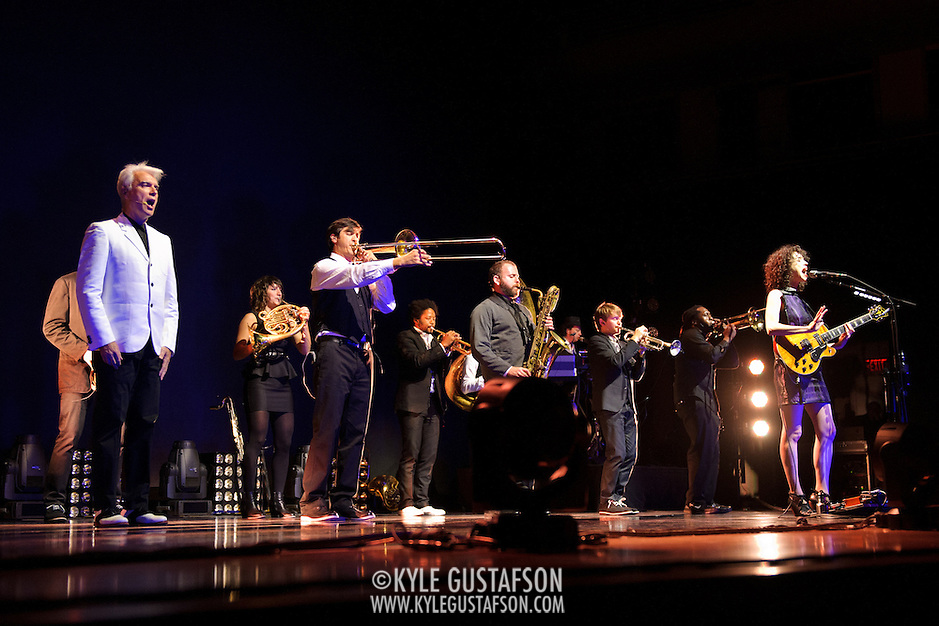 BETHESDA, MD - September 30th, 2012 - David Byrne (far left) and St. Vincent (far right) perform at the Strathmore Music Hall as part of their joint tour. The pair released a collaborative album, Love This Giant, earlier this month. (Photo by Kyle Gustafson/For The Washington Post) (Kyle Gustafson/For The Washington Post)