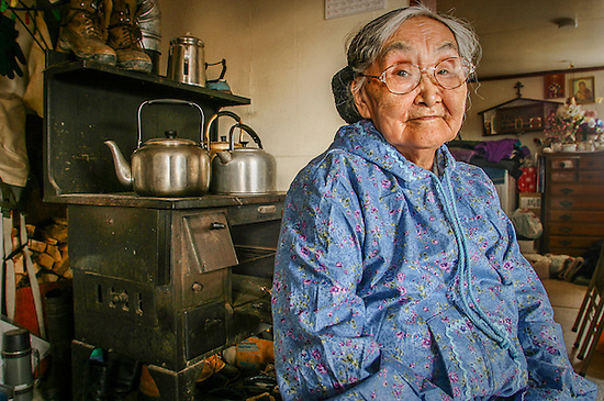 Yupik elder, Olinka K. Nicolai, at her home in the Yup'ik village of Kwethluk, Alaska (Clark James Mishler)