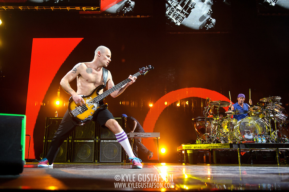"WASHINGTON, DC -  May 8th, 2012 - Michael ""Flea"" Balzary and Chad Smith of the Red Hot Chili Peppers perform at the Verizon Center in Washington, D.C. The band was inducted into the Rock N Roll Hall Of Fame earlier this year and released their 10th studio album, I'm With You, in late 2011. (Photo by Kyle Gustafson/For The Washington Post) (Kyle Gustafson/For The Washington Post)"