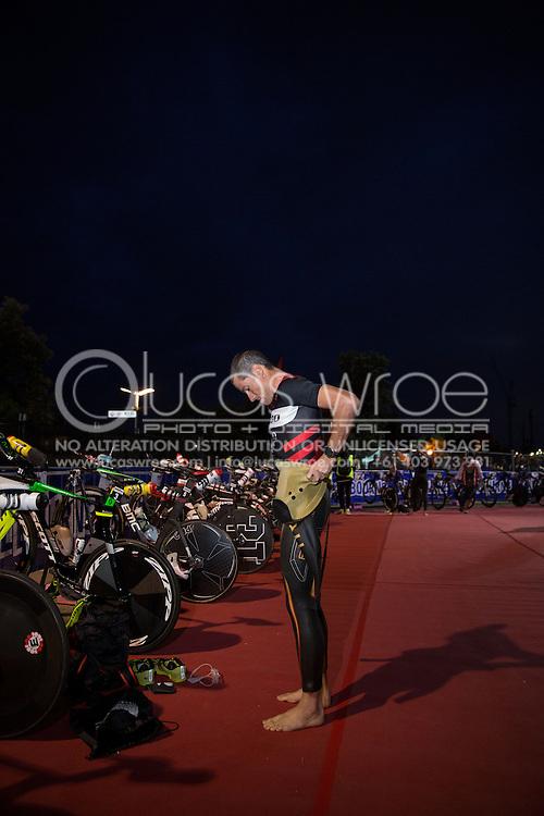 Craig Alexander (AUS), March 23, 2014 - Ironman Triathlon : Athletes prepare for the race start. Ironman Melbourne Race Race, Frankston Swim Course/Transition, Melbourne, Victoria, Australia. Credit: Lucas Wroe (Lucas Wroe)