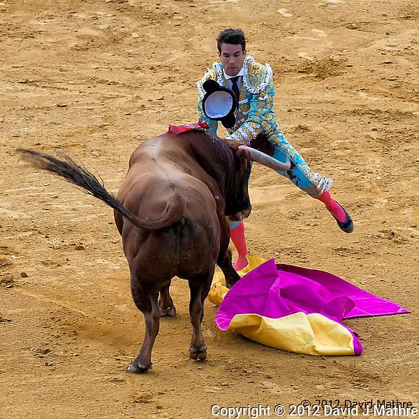 Bullfight at the Plaza de toros de la Real Maestranza de Caballería de Sevilla. Image taken with a Nikon D800 camera and 70-300 mm VR lens (ISO 400, 122 mm, f/5.6, 1/500 sec). (David J Mathre)