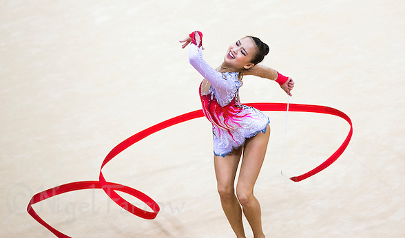 11 AUG 2012 - LONDON, GBR - Yeon-Jae Son (KOR) of South Korea performs her ribbon routine during the 2012 London Olympic Games Individual All-Around Rhythmic Gymnastics final at Wembley Arena in London, Great Britain (PHOTO (C) 2012 NIGEL FARROW) (NIGEL FARROW/(C) 2012 NIGEL FARROW)