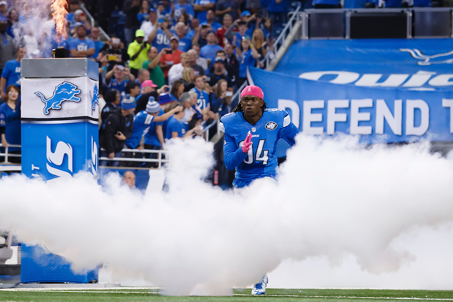 Detroit Lions defensive end Ezekiel Ansah (94) during player introductions prior to an NFL football game against the Arizona Cardinals at Ford Field in Detroit, Sunday, Oct. 11, 2015. (AP Photo/Rick Osentoski) (Rick Osentoski/AP)