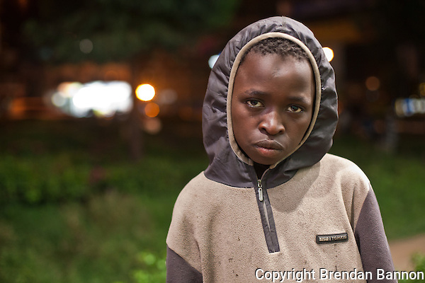 Iaasac Mutinda, a 13 year old street boy living in Westlands, nairobi (Photographer: Brendan Bannon)