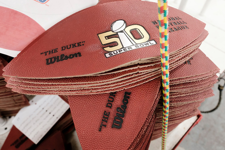 Panels of official balls for the NFL Super Bowl 50 football game are stacked up prior to being sewn at the Wilson Sporting Goods Co. in Ada, Ohio, Tuesday, Jan. 26, 2016. The Denver Broncos will play the Carolina Panthers in the Super Bowl on Feb. 7 in Santa Clara, CA. (AP Photo/Rick Osentoski) (Rick Osentoski/AP)
