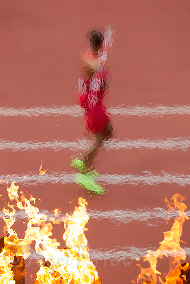 09 AUG 2012 - LONDON, GBR - Ashton Eaton (USA) of the USA  throws during the javelin in the Decathlon at the London 2012 Olympic Games athletics in the Olympic Stadium at the Olympic Park in Stratford, London, Great Britain (PHOTO (C) 2012 NIGEL FARROW) (NIGEL FARROW/(C) 2012 NIGEL FARROW)