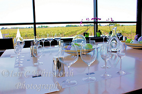 A wine tasting room is all set for guests at a Niagara Peninsula vineyard in Ontario Canada (Ian C Whitworth)