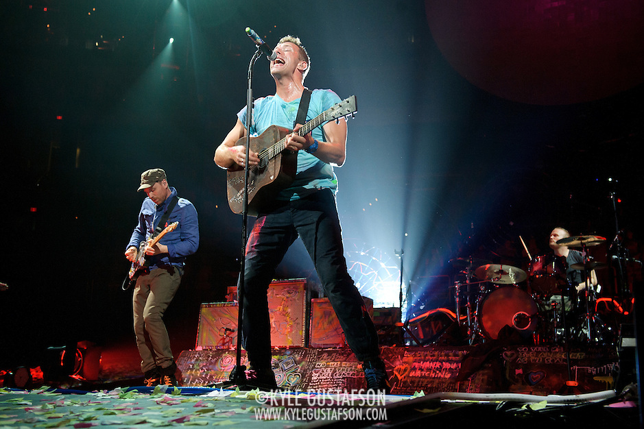 WASHINGTON, DC - July 9th, 2012 - Coldplay perform the first of two shows at the Verizon Center in Washington, D.C. The band's 2011 album, Mylo Xyloto, reached number one in thirty countries. (Photo by Kyle Gustafson/For The Washington Post) (Kyle Gustafson/For The Washington Post)
