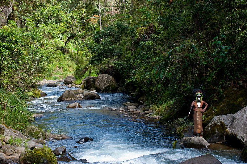 Bunt geschmückter und bemalter Stammeschef im Hochland von Papua Neu Guinea, Melanesien*Colourful dressed and painted local tribal chief in the Highlands of Papua New Guinea, Melanesia (Michael Runkel)