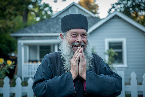 """Little Father"" Fr. Sergious Gerken travels the country visiting centenarians.  And, while he once headed the Russian Orthadox church in Calistoga, he now lives and practices in Hernando, Florida.  Farther Gerken spent eight years at the Simonopetra Monastery at Mt. Athos, Greece where he learned to begin each day at 4 AM , a practice to which he still subscribes.  frsergious@gmail.com  95 E. Hartford St., Bld. 10, A-3, Hernando, FL  34442 (© Clark James Mishler)"