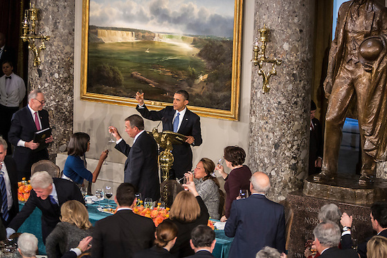 President Barack Obama raises his glass after speaking at the Inaugural Luncheon in Statuary Hall at the U.S. Capitol on Monday, January 21, 2013 in Washington, DC. (Brendan Hoffman/Brendan Hoffman for the New York Times)