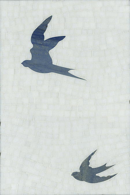 Flight, a natural stone hand cut and waterjet mosaic, is shown in Blue Macauba and polished Thassos . (New Ravenna Mosaics)