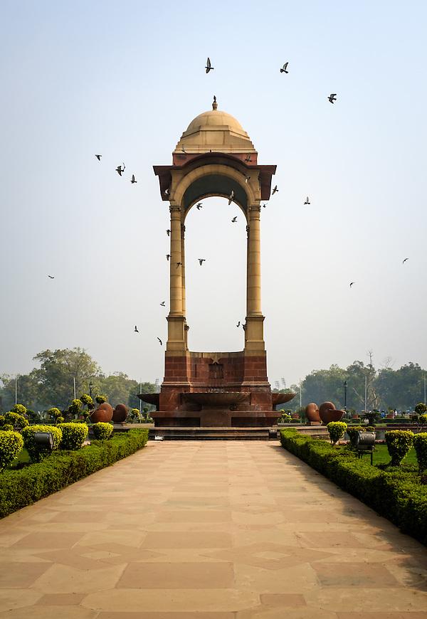 NEW DELHI, INDIA - CIRCA OCTOBER 2016: The Canopy behind the India Gate, a popular tourist attraction in New Delhi. (Daniel Korzeniewski)