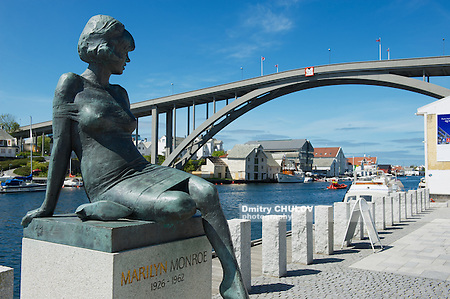 HAUGESUND, NORWAY - JUNE 05, 2010: Exterior of the sculpture of Marilyn Monroe in Haugesund, Norway. Her stepfather's father was born in Haugesund, Norway. (Dmitry Chulov)