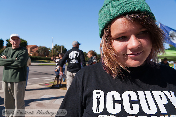 Anastasia at the Occupy Orange County, Irvine camp on November 5. (Marc C. Perkins)