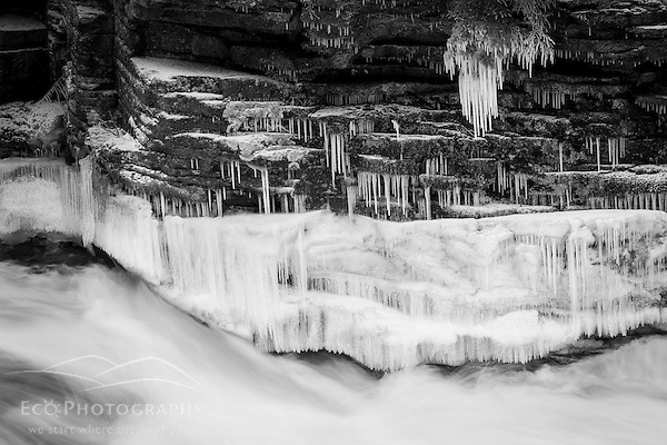 White Mountain Winter Photography: Icicles and Lower Falls on the Ammonoosuc River in Twin Mountain, New Hampshire. (Jerry and Marcy Monkman)