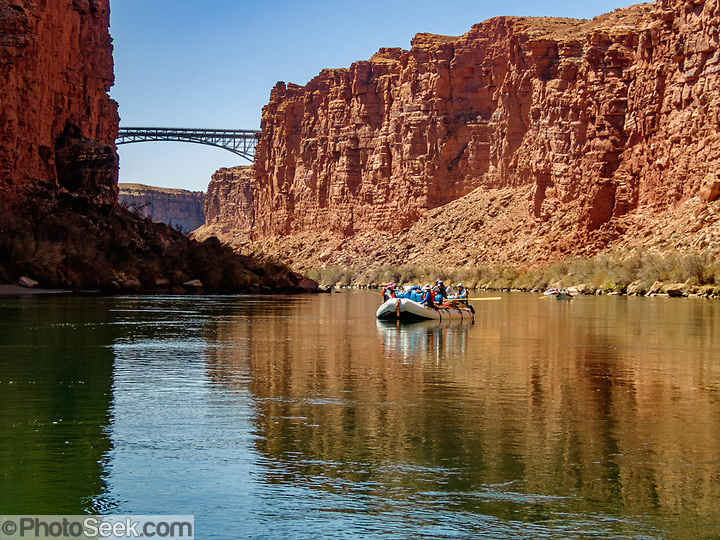 Highway 89A crosses the Colorado River here at River Mile 4.5 in Grand Canyon National Park, Arizona, USA. The original Navajo Bridge was built in 1929. The new bridge was completed in 1995. (© Tom Dempsey / PhotoSeek.com)