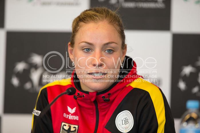 Angelique Kerber (GER) Press Conference, April 19, 2014 - TENNIS : Fed Cup, Semi-Final, Australia v Germany. Pat Rafter Arena, Brisbane, Queensland, Australia. Credit: Lucas Wroe (Lucas Wroe)