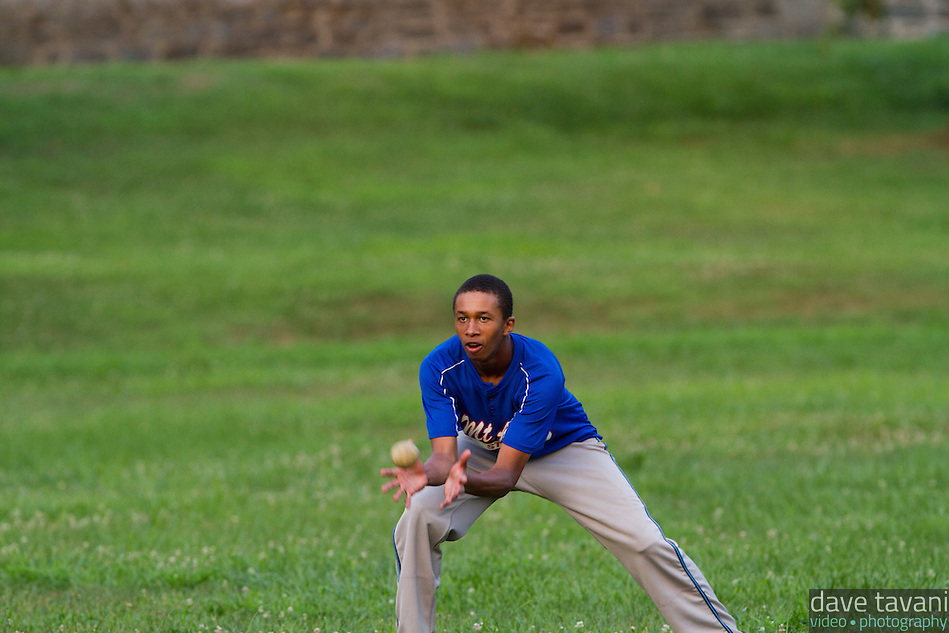 Langston Livingston of the Mt. Airy Stars makes a bare-handed catch in the out field during the vintage baseball demonstration. According to 1864 rules, players do not wear gloves and can catch a flyball on once bounce and still get an out. (Dave Tavani)