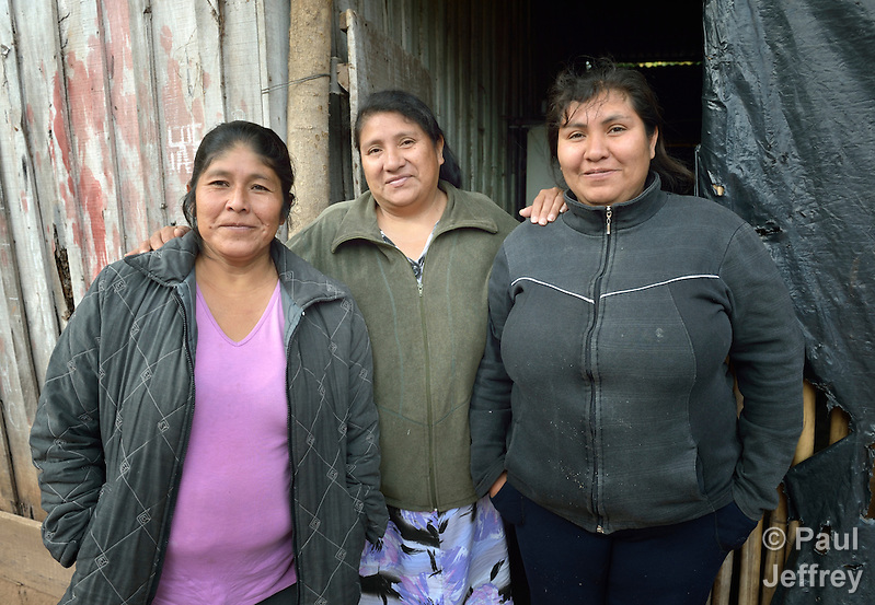 Sonia Jimenez (left), Nelida Alpiri, and Noemi Ortega are Guarani indigenous leaders in Bananal, a small village in the Chaco region of Argentina where residents have struggled to defend their land and their rights against giant agro-export plantations and cattle raisers. (Paul Jeffrey)