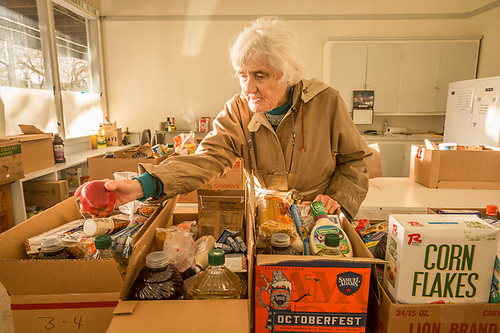 """""""I think we're here to help each other...it's an obligation.""""  -Helen Archerd moved to Calistoga with her husband in 1957 and has worked with the Calistoga Food Pantry for the past 22 years. (Clark James Mishler)"""