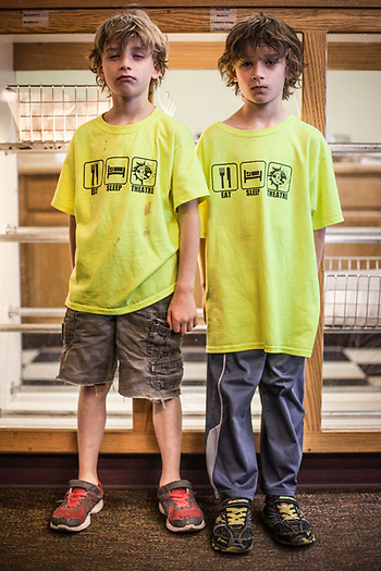 Seven year old twins, Henry and Elijah Hase at the Bagel Restaurant, Anchorage (Clark James Mishler)