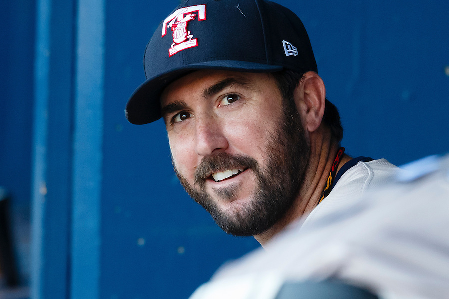Detroit Tigers pitcher Justin Verlander, playing for the Toledo Mud Hens in a rehab start, sits in dugout before a Triple-A baseball game against the Columbus Clippers in Toledo, Ohio, Saturday, June 6, 2015. (AP Photo/Rick Osentoski) (Rick Osentoski/AP)