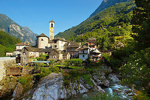 Rustic mountain village of Lavertezza with stone houses and church -Val Verzasca, Ticino, Alps, (© Paul Williams 2009)