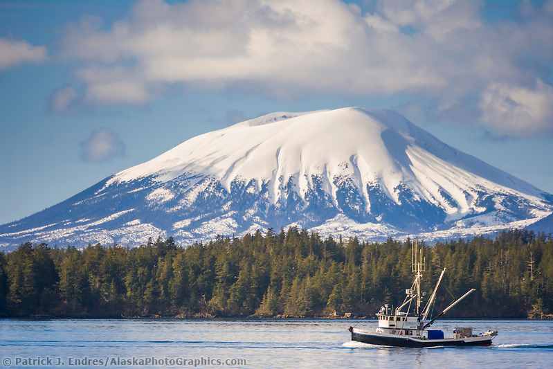 Sitka photos: Commercial fishing boat cape purse seiner, passes by Mount Edgecumbe, Sitka Sound, southeast, Alaska (Patrick J Endres / AlaskaPhotoGraphics.com)
