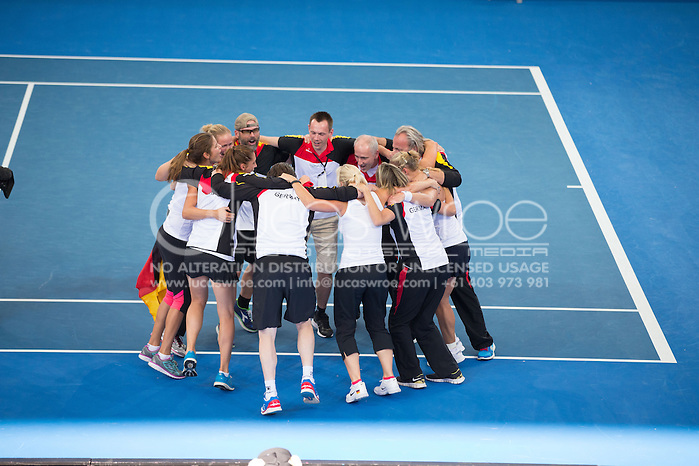 German Team Celebrate Their Win, April 20, 2014 - TENNIS : Fed Cup, Semi-Final, Australia v Germany. Pat Rafter Arena, Brisbane, Queensland, Australia. Credit: Lucas Wroe (Lucas Wroe)