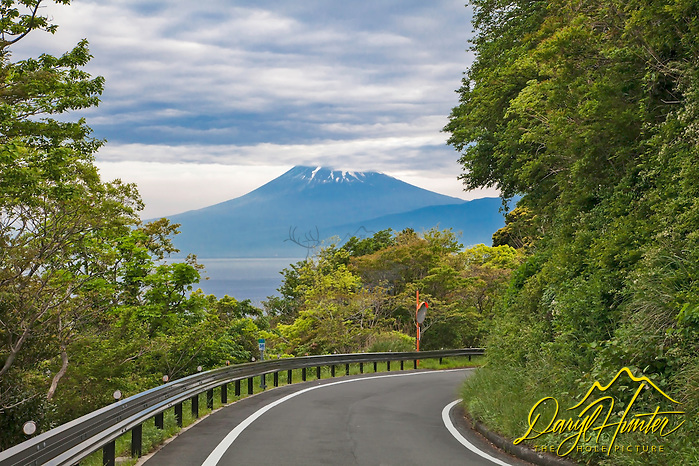 Road to Mt. Fuji. It was tough to find a parking spot of this reveal of the mountain, but finding one was a must. This is the route from Heda Port to Numazu. (Daryl L. Hunter/© Daryl L. Hunter)
