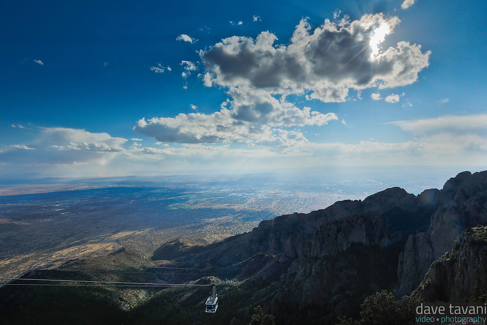 The Sandia Peak Tramway car descends from the top of the mountain toward the Rio Grande Valley. (Dave Tavani)
