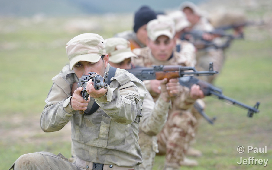 Members of the Nineveh Plain Protection Units training at their base near Alqosh, Iraq, on April 12, 2016. The Assyrian militia group was formed by Christians displaced by ISIS from Qaraqosh and other towns in the Nineveh Plain in 2014. Their goal is to take back their homeland and make it a semi-autonomous province within Iraq. (Paul Jeffrey)
