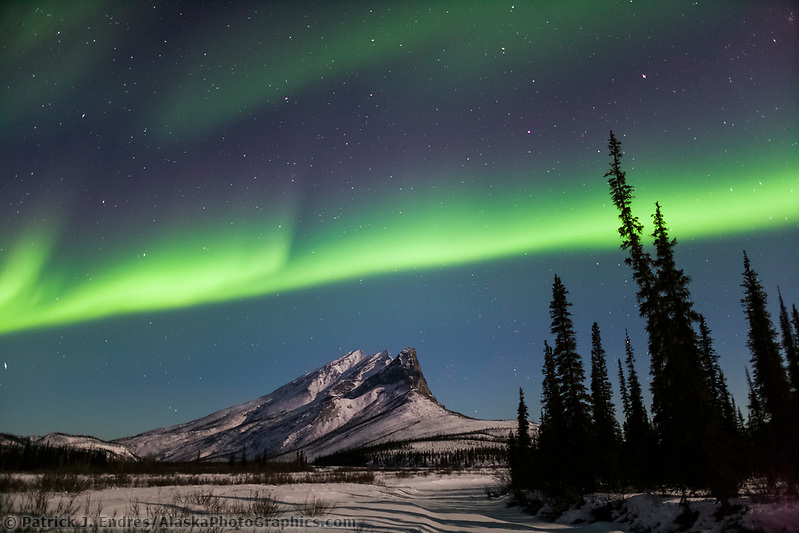 Aurora borealis over Mount Sukakpak, Brooks range, Alaska. (Patrick J. Endres / AlaskaPhotoGraphics.com)