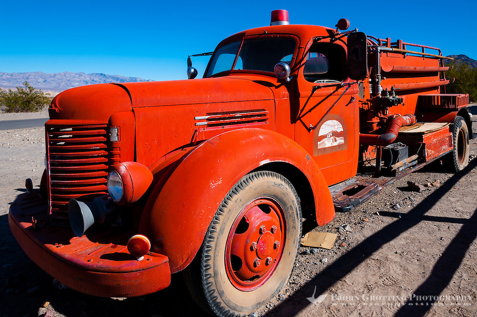 United States, California, Death Valley. Old fire truck at Stovepipe Wells (Photo Bjorn Grotting)