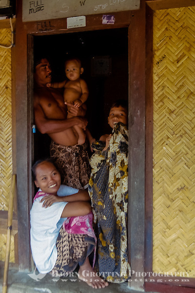 Nusa Tenggara, Lombok, Sade. Sade village. A Sasak family in a traditional Sasak house. (Photo Bjorn Grotting)